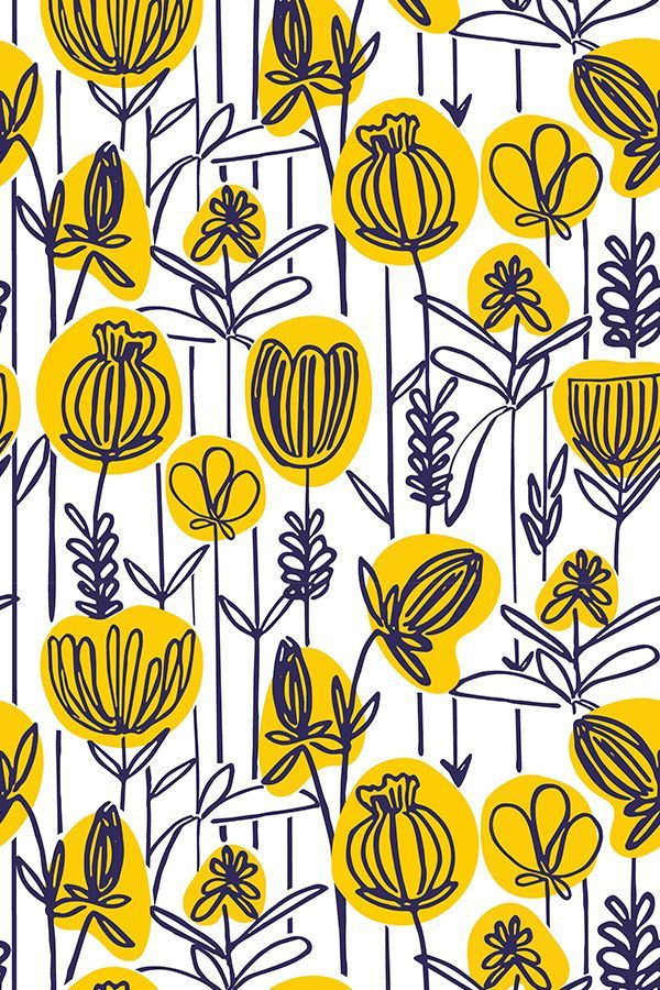 Navy and yellow wallpaper