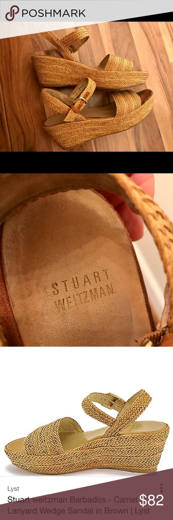 Stuart Weitzman 'Barbados' Camel Wedge Sandal 9.5 Genuine, ultra comfortable Stuart Weitzman sandals! A classic find - wearable with any warm-weather outfit and for any occasion. Medium wedge (about 2.5 inches) and slight slope. Made of soft 'lanyard' wicker type material. Super durable. Adjustable ankle strap with darker brown detail. Rubber sole fully intact. No signs of wear except for toe marks. Sz 9.5 and could also fit a 10. Stuart Weitzman Shoes Wedges