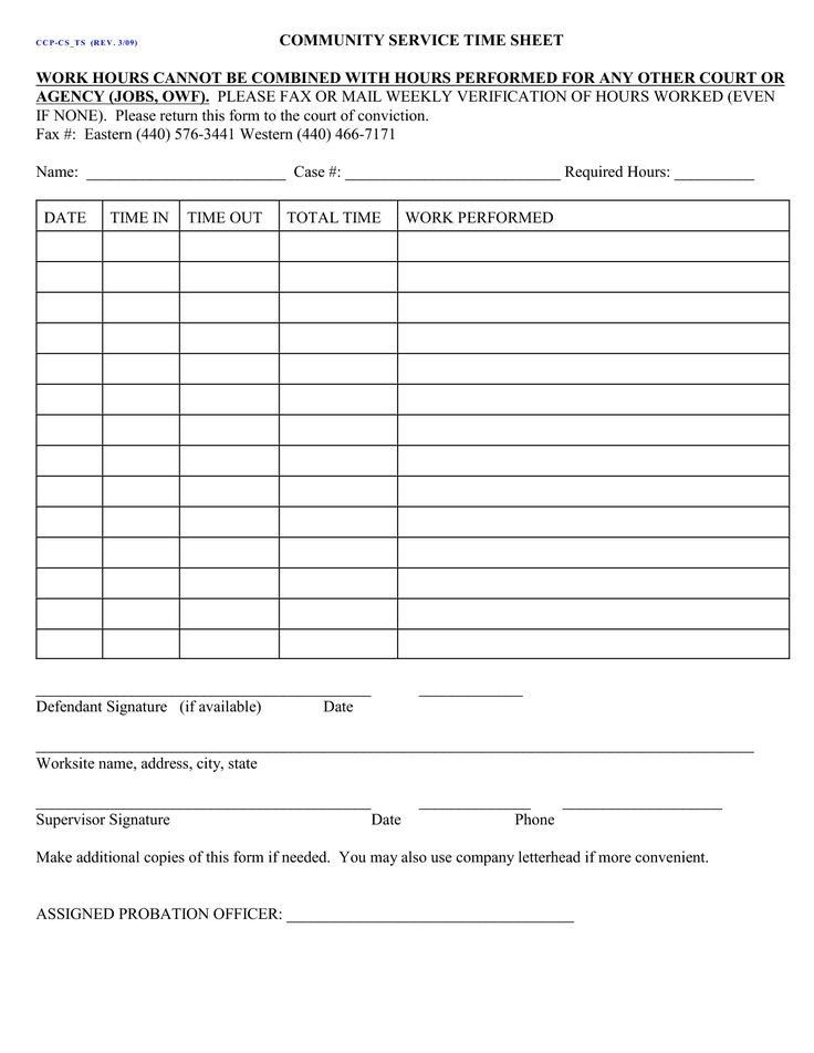Community Service Hours form Template Lovely Court ordered