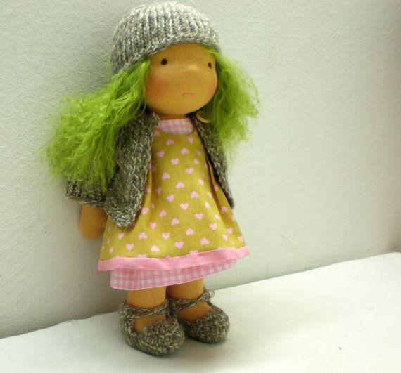 """Waldorf doll 10"""" with cute green hair. :)"""