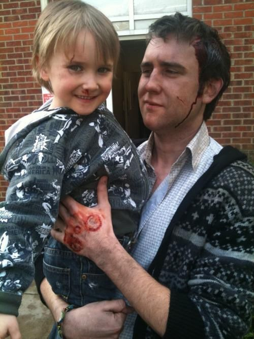 Matthew Lewis and his nephew on set of Harry Potter and the Deathly Hallows, part 2.