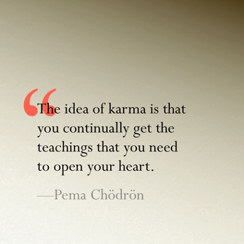 """The idea of karma is that you continually get the teachings that you need to…"