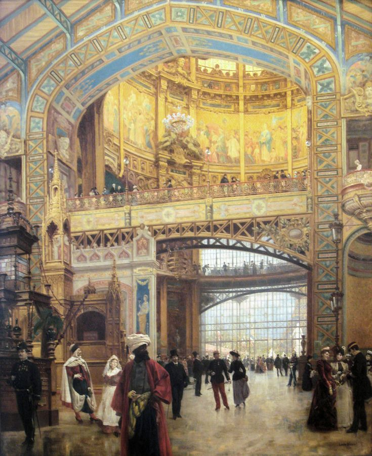 Central Dome of the Gallery des Machines Exposition Universelle de Paris 1889 by Louis Beroud 1852 1930,   http://commons.wikimedia.org/wiki/File:Central_Dome_of_the_Gallery_des_Machines_Exposition_Universelle_de_Paris_1889_by_Louis_Beroud_1852_1930.jpg