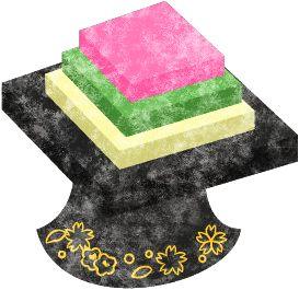 雛道具菱餅のイラスト