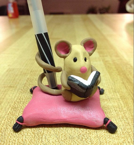 Mouse Reading A Book Pencil Pen Holder of Polymer Clay by MarysCraftyTreasures, $32.00