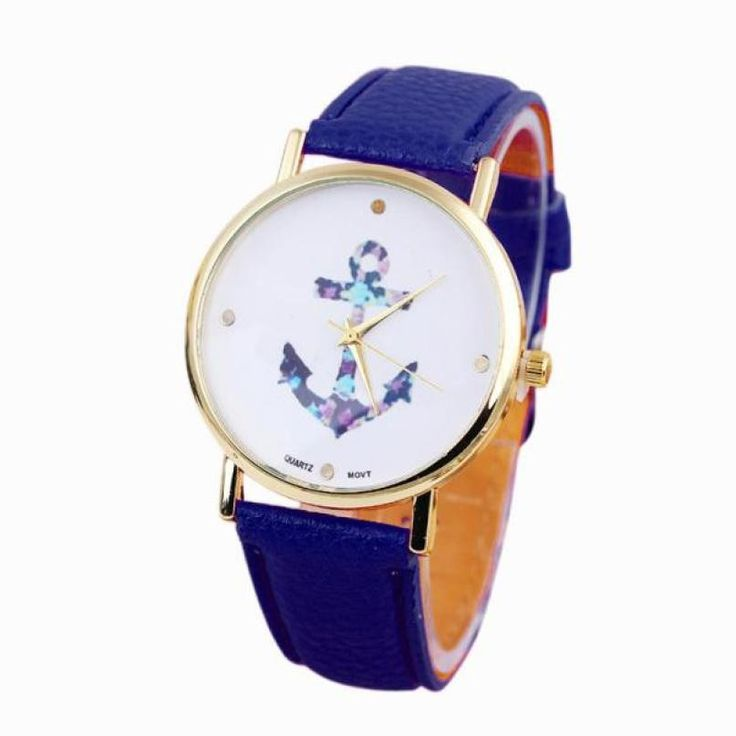 Luxury watch Women's Ladies Vintage Flower Watch Anchor Leather Quartz Watch