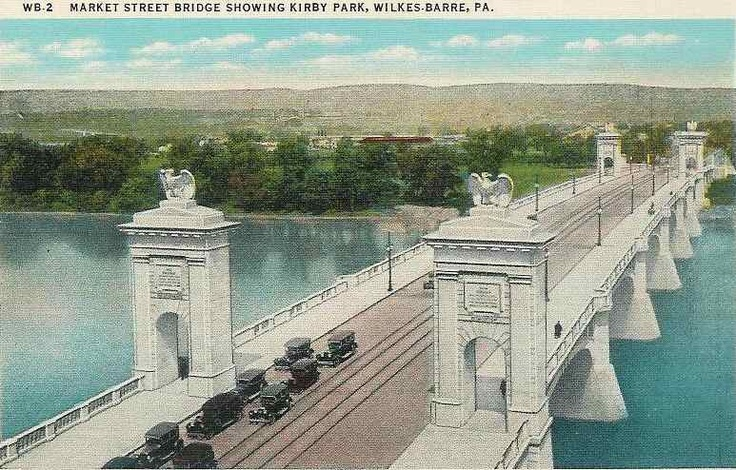 beautiful architecture...market st bridge, wilkes-barre, pa - although I think someone photoshopped the color of the water - LOL!