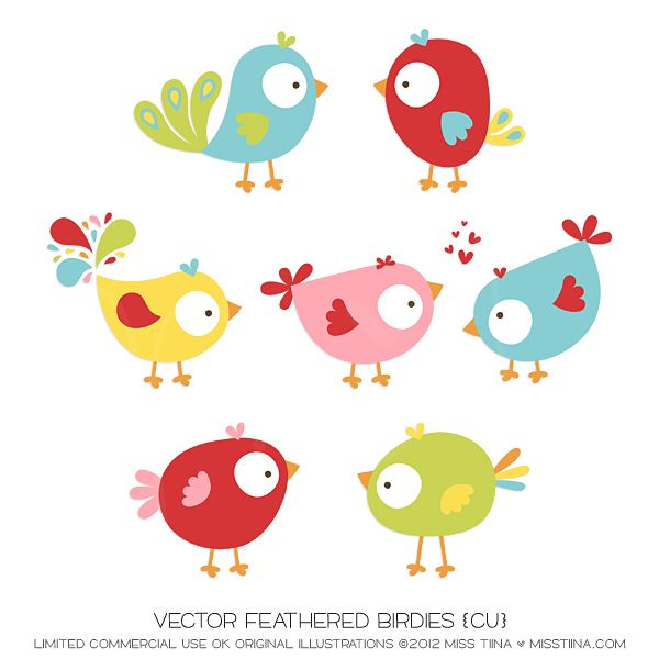 NEW Vector Feathered Birdies & a FREEBIE!   MissTiina.com {Blog}