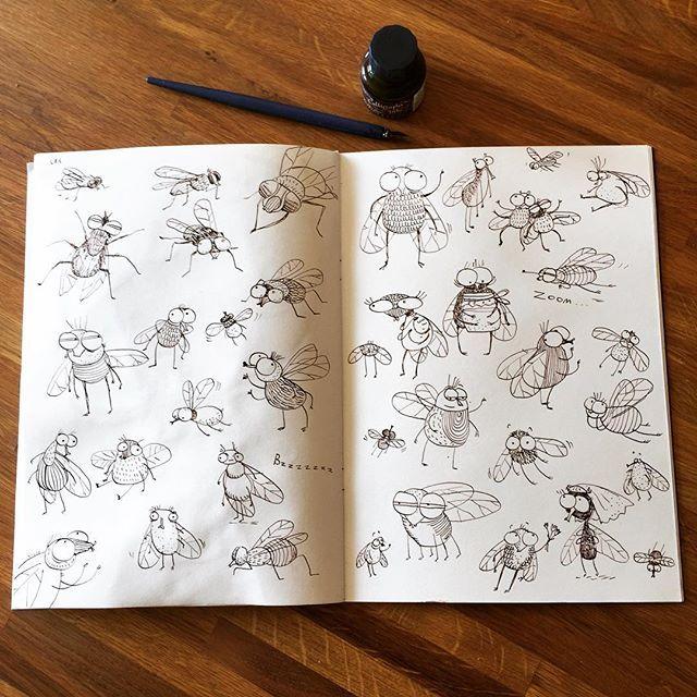 Неделя 9. НАСЕКОМЫЕ.  A у меня сегодня мухи! Рисуем насекомых для нашего марафона #денькрокодила . Рисовала сразу пером без наброска. Drawing flys today for my creative marathon. The topic is Insects. I think my flys are pretty cute :) #рисунок #рисуйкаждыйдень #скетчбуки #детскаяиллюстрация #иллюстрация #arts_help #art_we_inspire #topcreator #childrenillustration #illustration #drawingoftheday #fly