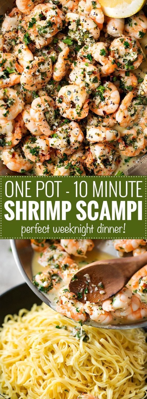 One Pot 10 Minute Shrimp Scampi | This shrimp scampi has all the classic garlick…