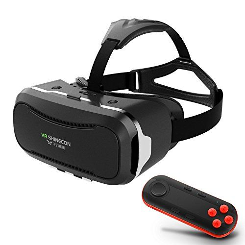 (3D Movies Games VR Headset w/ iOS Android Bluetooth Remote Controller, Universal Virtual Reality Glasses Box for iPhone Samsung Galaxy SONY Xperia LG HTC MOTO Cellphones) Buy-Accessories.net