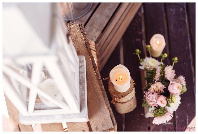 kwiaty i lampiony na wesele