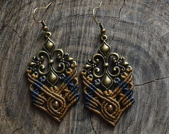 Macrame earrings with brass component   Boho-Hippie earrings with brown and dark grey waxed cord