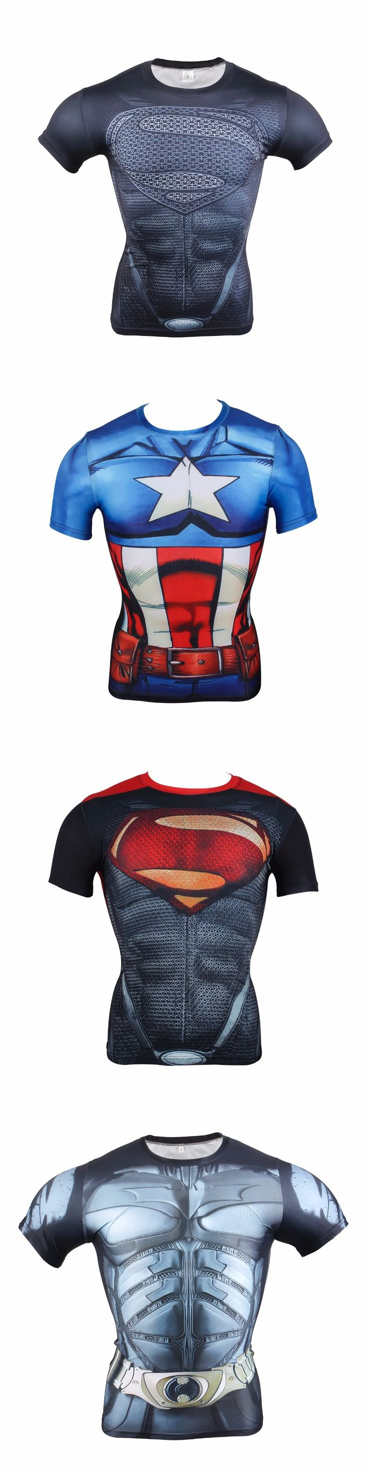 2017 Men Marvel Superheros Superman vs Batman Spiderman T-Shirt homme Compression Costume Plus size Captain America 3 Civil War