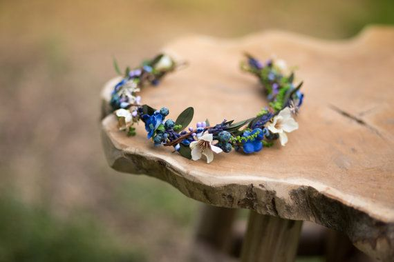 Floral Half Wreath flower head wreath headband fairy wreath hair crown wedding wreath bridal hair accessories white green blue