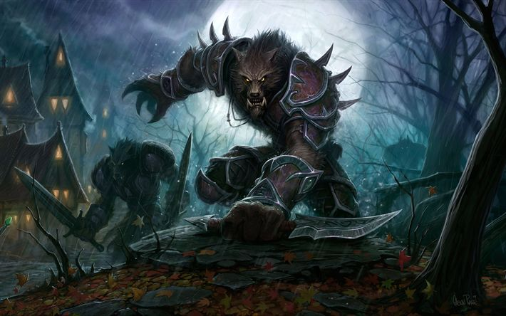 Download wallpapers Worgen, art, monsters, World of Warcraft, WoW