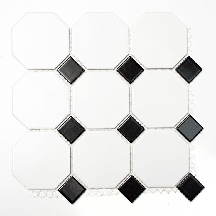 KLINKER OCTAGON VIT/SVART 9,7X9,7 CM PRIS PER ARK  - 10x10 - Kakel, Klinker & Mosaik efter Storlek - Kakel & Klinker - Golv & Kakel
