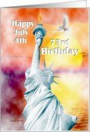 Birthday / July 4th Birthday ~ Age Specific 73rd ~ Statue Of Liberty Card by Greeting Card Universe. $3.00. 5 x 7 inch premium quality folded paper greeting card. Find birthday cards for everyone on your list at Greeting Card Universe. Make this birthday a memorable one by sending a custom card. Turn to Greeting Card Universe for all your birthday card needs. This paper card includes the following themes: Madeline M Allen, SmudgeArt, and Digital-Art. Greeting ...