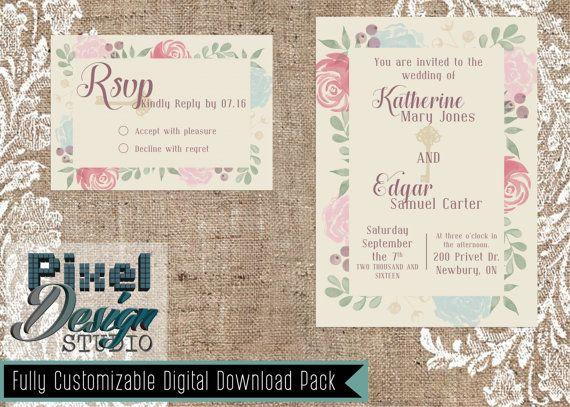 Secret Garden 5 x 7 Wedding Invitation  RSVP by PixelDesignStudio