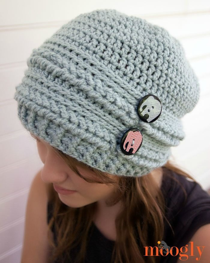 Ups and Downs Slouchy Beanie - free crochet pattern on Mooglyblog