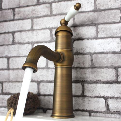 Single Ceramic Handle Antique Brass Bathroom Faucet