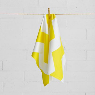 Chevron Grande Tea Towel in Bright Yellow