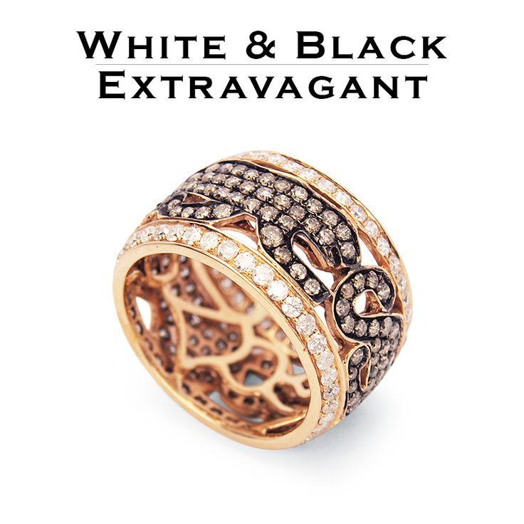 Fekete párduc gyűrű 3,2 karát gyémánttal kirakva, 18 karátos rosegold-ból