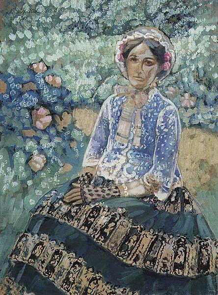 Картины художника Борисова-Мусатова. Женщина в голубом. 1905г.