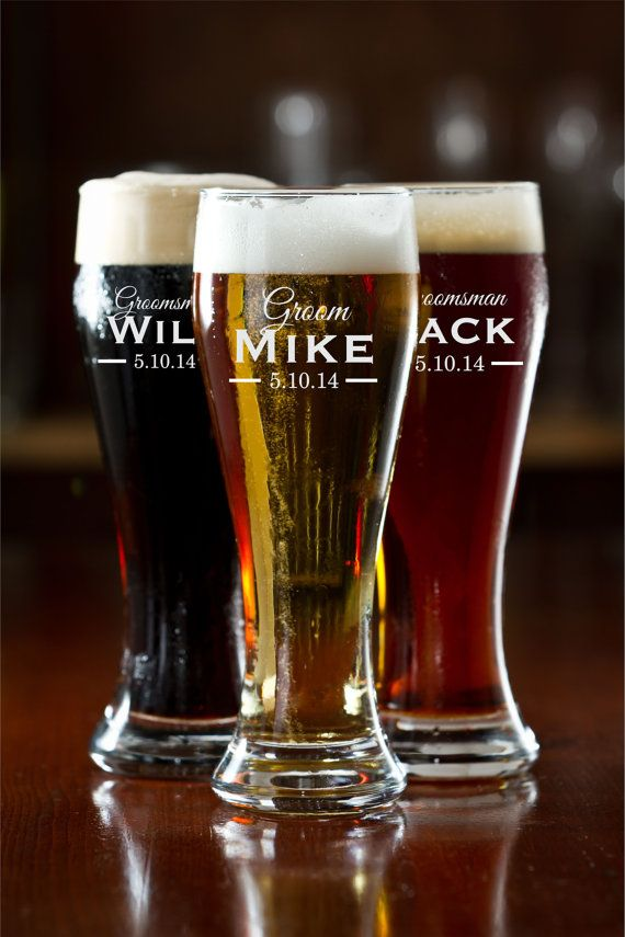 personalized beer glasses - groomsman gift ideas!