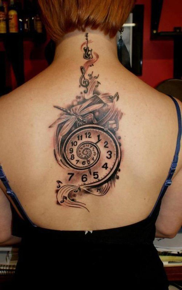 Music tattoo on back - 60 Awesome Music Tattoo Designs