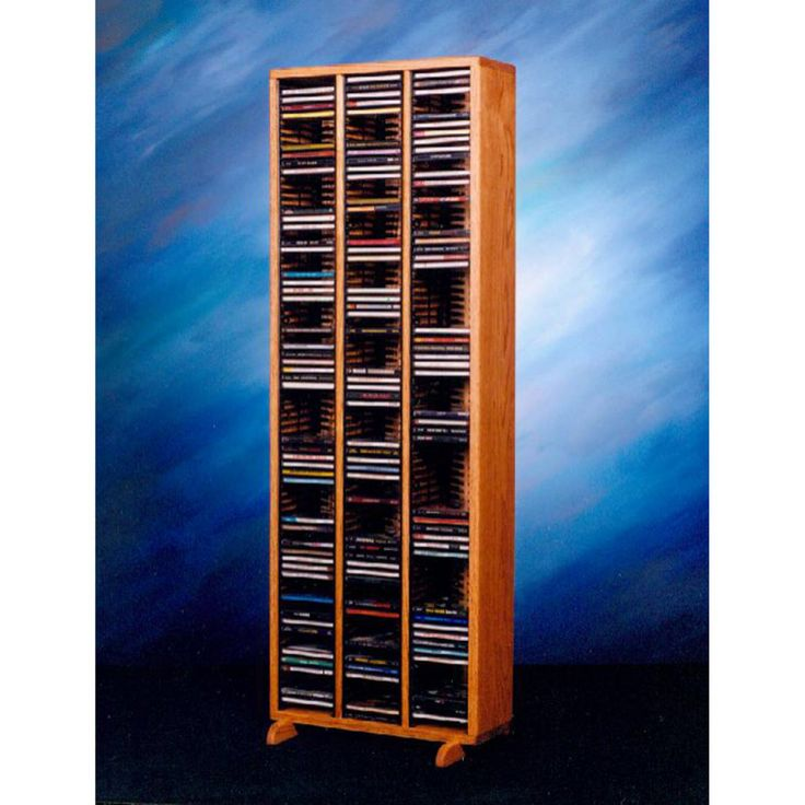 The Wood Shed Solid Oak 240 CD Media Tower with Individual Locking Slots - 309-4