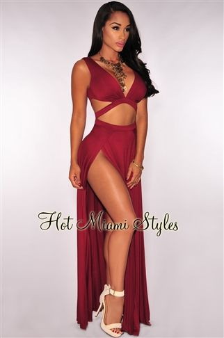 Wine Double Slit Maxi Dress clubwear cocktail Womens clothing clothes hot miami styles hotmiamistyles hotmiamistyles.com sexy club wear evening  clubwear cocktail party kim kardashian dresses