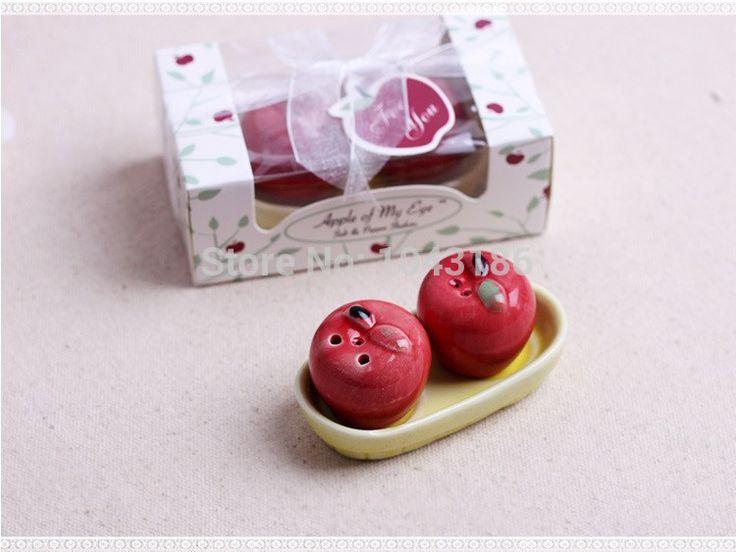 Свадебный подарок пользу и подарками для гостей-Apple Керамические Соль и Перец ShakersWedding Пользу Свадебный Сувенир 200 шт./лот