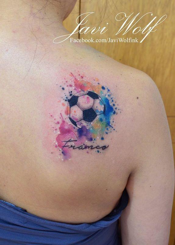 Javi Wolf Tattoo- soccer ball, watercolor