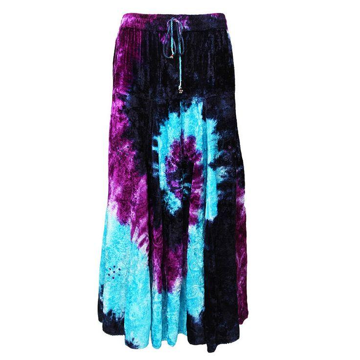 Crushed Velvet Tie Dye Swirl Maxi Skirt