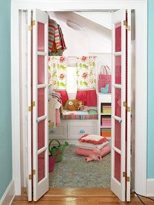 Walk In Closet So Cute! I Love These Doors. I Can Put Fabric In Girls Closet  Doors.
