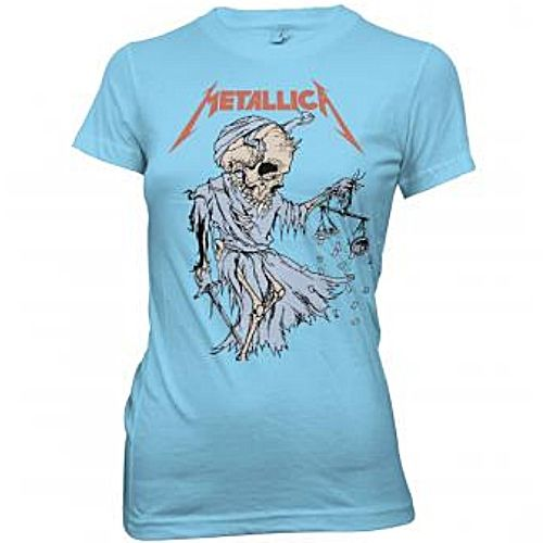 Official Metallica girls' womens t-shirt in blue featuring reaper design.   Get yours here: http://heavymetalmerchant.com/product/metallica-cartoon-reaper-girls-shirt