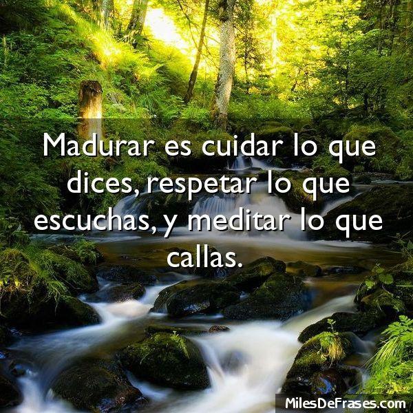 Madurar es cuidar lo que dices respetar lo que escuchas y meditar lo que callas.