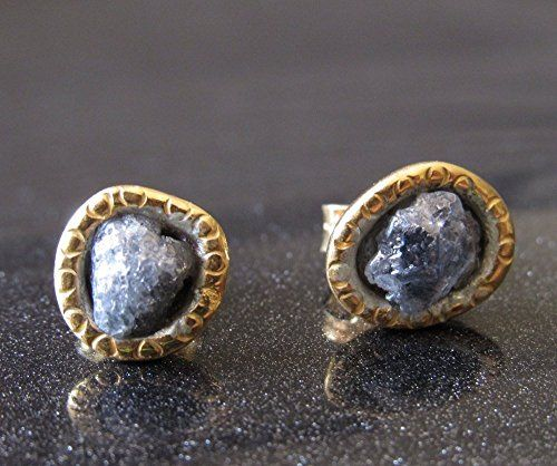 Grey Raw Diamond Stud Earrings with Gold Hammered Border Sterling Silver Earrings Diamond Studs Rough Diamond Earrings