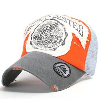 ililily Distressed Vintage Bill Wings Character Patch Pre-curved Cotton Baseball Mesh Cap with Adjustable Strap Snapback Trucker Hat - 005-4: Amazon.co.uk: Clothing