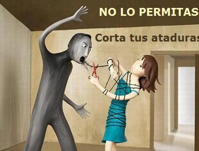 Nunca permitas que te agredan /Corta Tú MISMA tus ataduras /NO a la violencia machista!