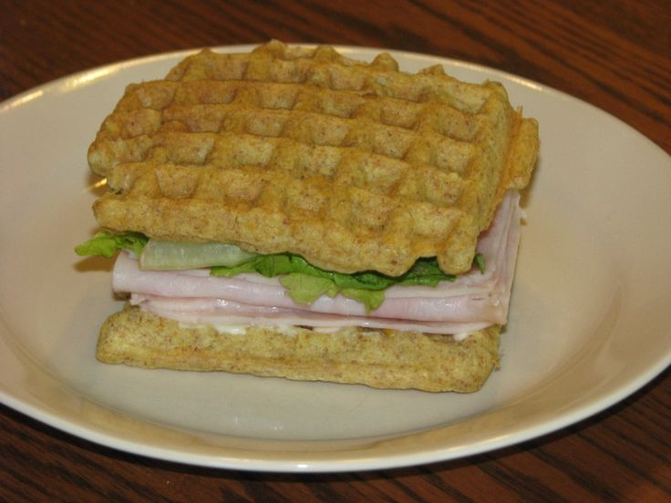 Trim Healthy Mama - use Bread in a Mug recipe in book and cook in waffle maker. Makes yummy looking sandwiches. Bake in bulk and freeze. Excellent idea!   Or sweeten and eat with bacon, eggs for breakfast