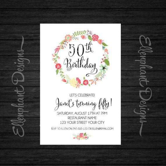 Floral wreath milestone Birthday Invitation, pretty, adult, 30th, 40th, 50th, 60th, 70th, 80th, custom invite, digital file, you print