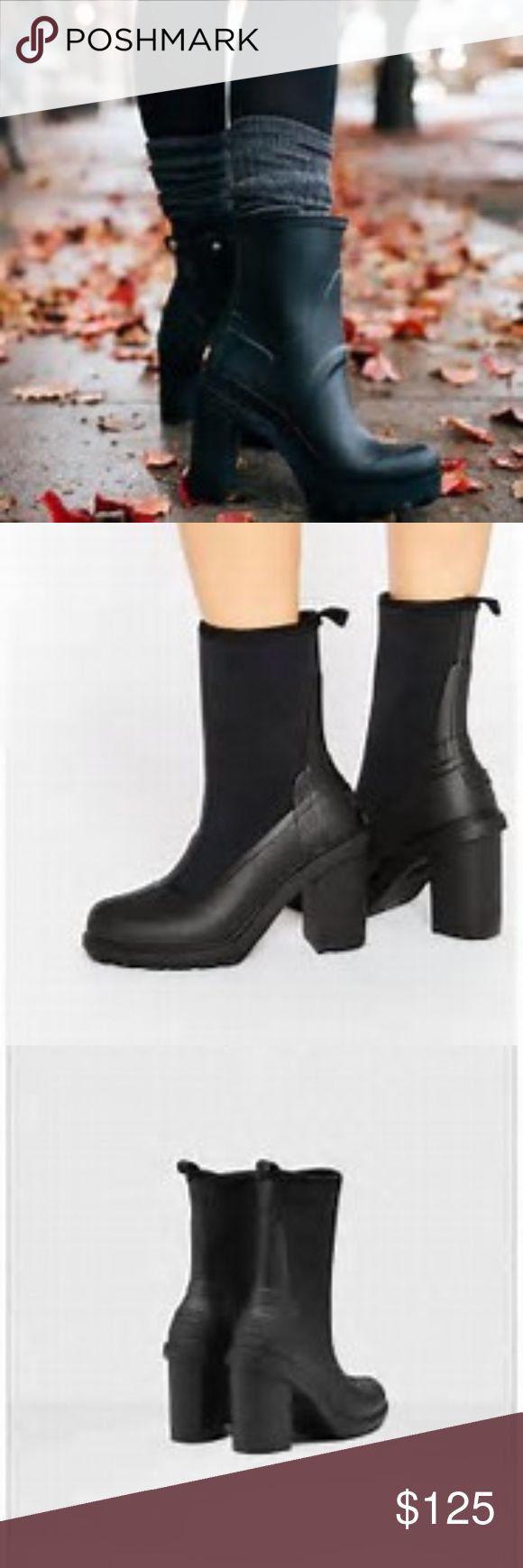 "Hunter Original High Heel Sock Rain Boot Sizing: True to size. Whole sizes only; for 1/2 sizes, order next size down.  - Round toe - Back pull-tab - Pull-on - Removable insole - Approx. 7.5"" shaft height, 7"" opening circumference - Approx. 4.5"" heel Hunter Shoes Heeled Boots"