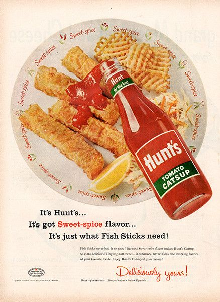 "1956 Hunt's Tomato Catsup Original Food and Drink Print Ad -An original vintage 1956 advertisement, not a reproduction -Measures approximately 10"" x 13"" to 11"" x 14"" -Ready for matting and framing."