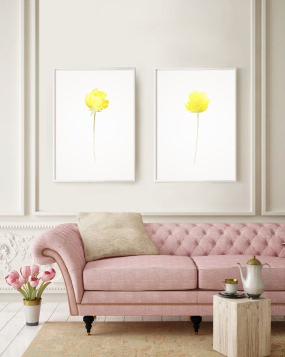 Set of 2 Watercolor Poppy Love Decor Yellow Elegant Art by LadyWatercolor | Etsy #watercolor #poppy #print #art #illustration #yellow #petal #prints #flower #florals #set #love #decor #elegant