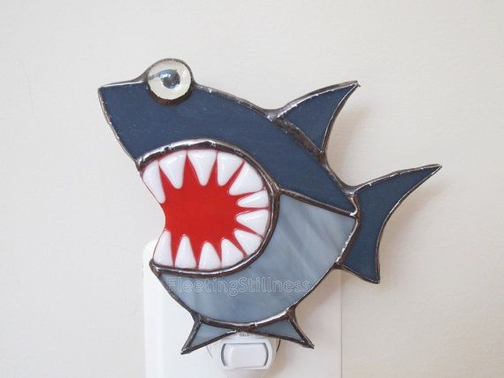 Shark Night Light Stained Glass Grey Red Nightlight Handmade OOAK