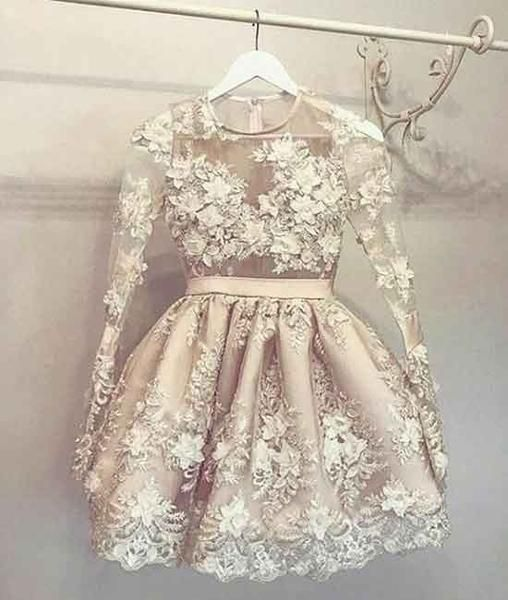 Unique round neck champagne lace short prom dress, homecoming dress