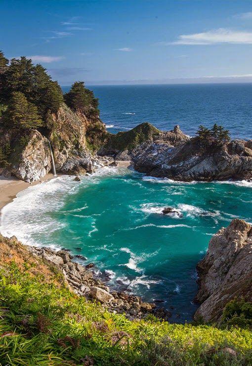 Mcway Falls At Big Sur California Beaches Coral Reefs Pinterest Big Sur California
