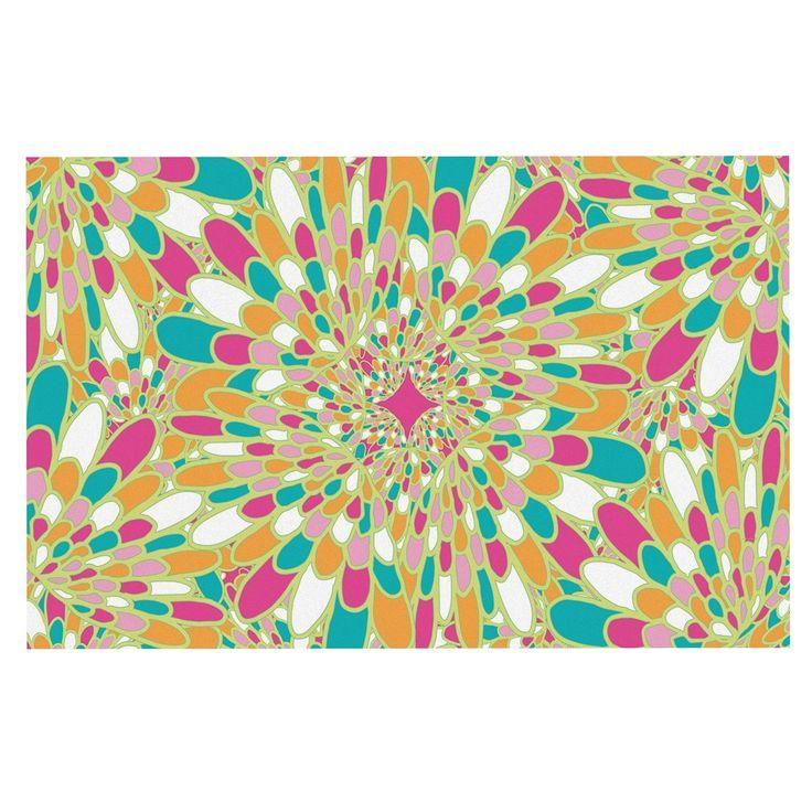 "Miranda Mol ""Flourishing Green"" Green Multicolor Decorative Door Mat"
